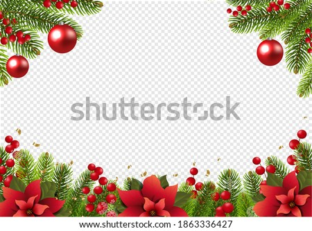 Christmas Postcard With Poinsettia Border With Holly Berry Transparent Background With Gradient Mesh, Vector Illustration