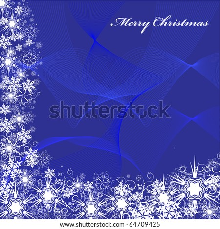 christmas postcard with snowflake and star. background