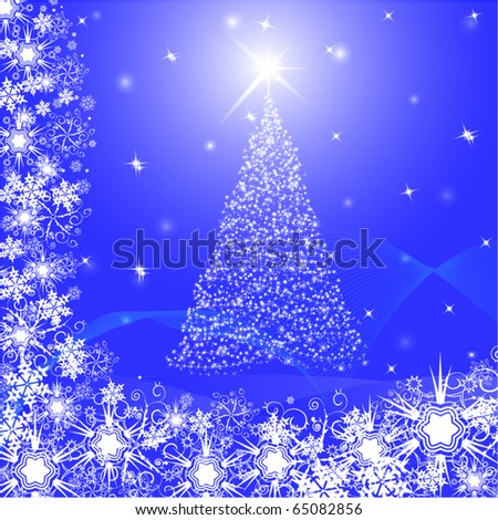 christmas postcard with snowflake fir tree and star. background - stock vector