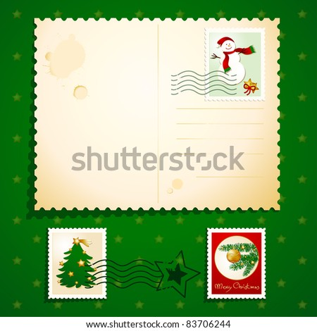 Christmas postcard with stamps, vector