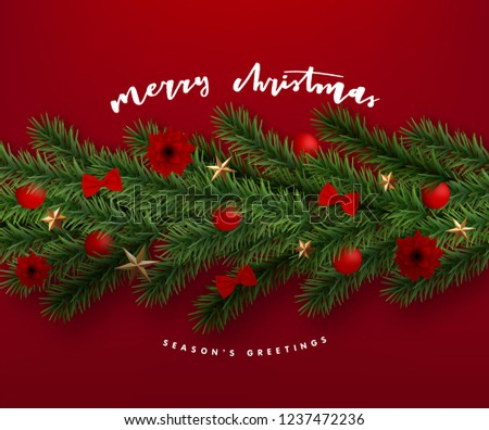 Christmas Postcard with vintage label and Christmas wishes decorated with Festive Elements #1237472236