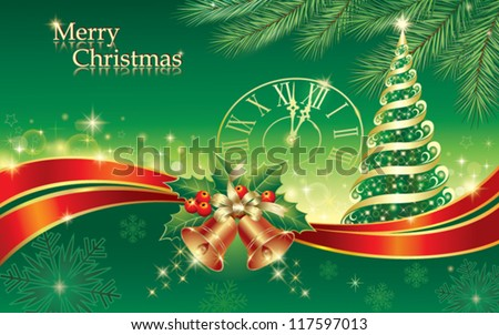 christmas postcard with xmas tree and holiday ring, clock