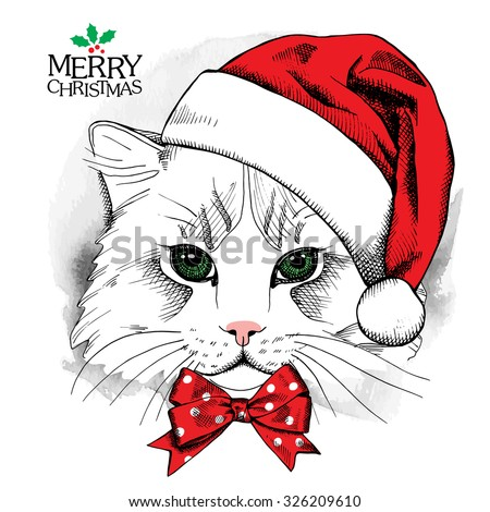 christmas poster with cat