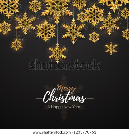 Christmas poster with golden snowflakes. Christmas greeting card #1233770761