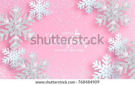 Christmas poster with shiny silver snowflakes on a pink background. Vector illustration