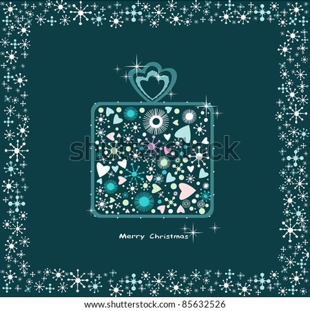 Christmas present box made from color decoration, vector.