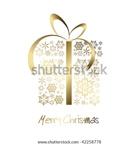 Christmas present box made from golden snowflakes (vector)