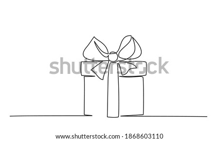 Christmas Present box with ribbon and bow. Continuous one line vector illustration. Wrapped surprise package