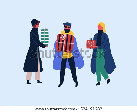 Christmas presents buying flat vector illustration. Winter season holidays preparation. People choosing New Year surprises isolated design element. Male, female characters holding festive gift boxes.