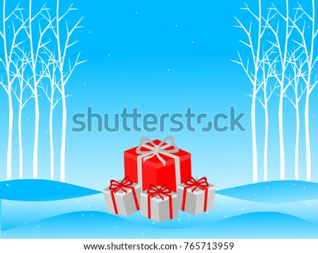 Christmas presents in frosty blue forest