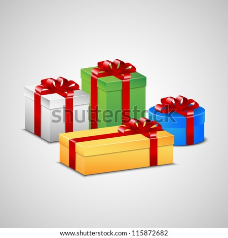 Christmas presents in white, green, blue and yellow color with red ribbon and bow.