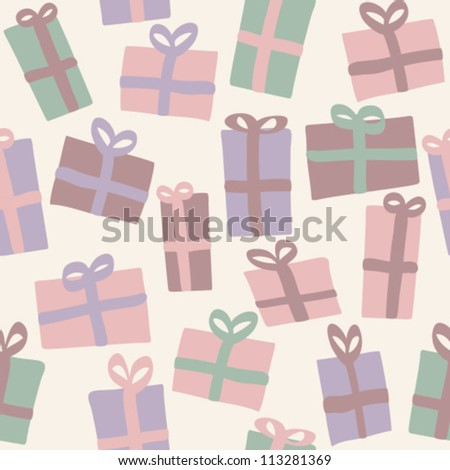 Christmas presents seamless pattern, background with retro colors