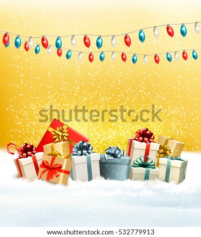 Christmas presents with a garland and a gift boxes. Vector.