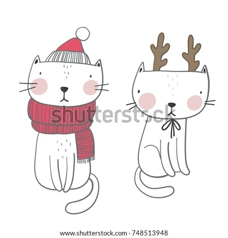 christmas print with cute cat