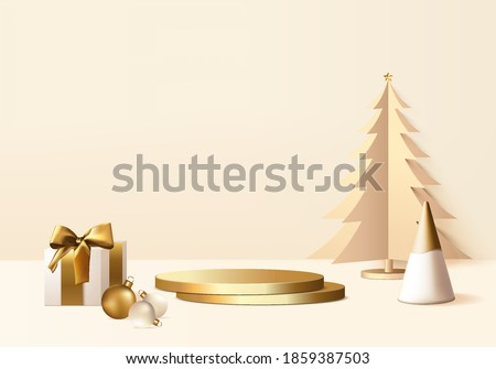 Christmas product rendered scene 3d with gift box and podium platform. Christmas tree background showcase 3d rendering with gold podium. Christmas stand to show product. Stage showcase product is gold
