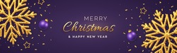 Christmas purple background with shining golden snowflakes, gold stars and balls. Merry christmas greeting card. Xmas background, horizontal poster, banner, headers website. Vector Illustration.