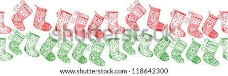 Christmas red and green socks seamless line.
