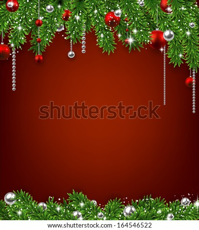 Christmas red background with fir twigs and balls. Vector illustration.  #164546522