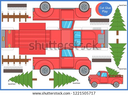 Christmas red car. Cut and glue the paper a red truck with a tree. Worksheet with funny education riddle. Children printable crafts activity page. Vector template for Christmas ornaments.