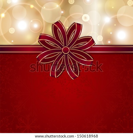 christmas red card template with bow vector background for design