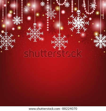 Christmas Red Greeting Card, Vector Illustration