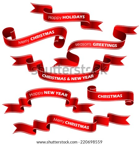 christmas red ribbons vector