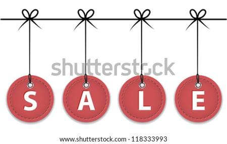 Christmas red sale labels hanging like Christmas balls. Vector illustration - stock vector