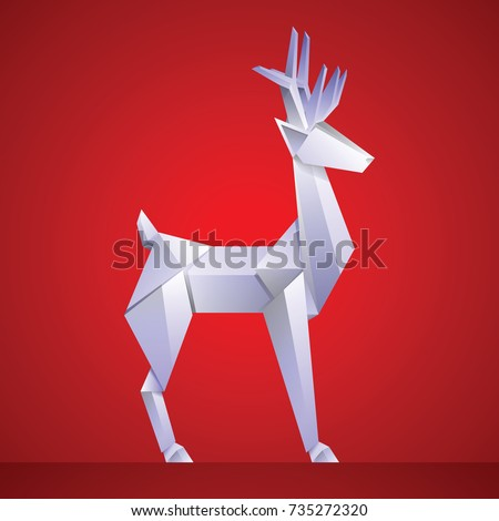 Christmas reindeer paper origami isolated on red background. vector illustration.
