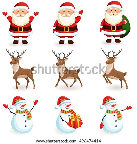 Christmas reindeer, santa, snowman set. Cartoon holiday moving characters vector illustration.
