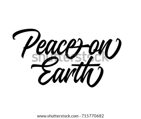 Christmas related script phrase word art text vector design for peace on earth