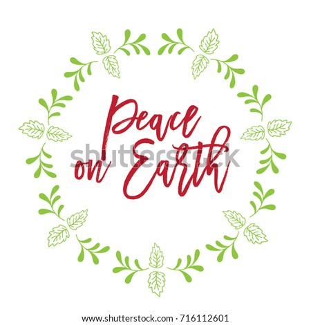 Christmas related word art script text design vector with circle floral frame for peace on earth