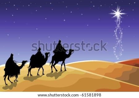 Christmas religious card with The Three Magi following the rising Star. Vector illustration saved as EPS AI 8.
