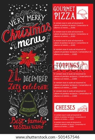 Christmas Restaurant Poster.Vector Images Illustrations And Cliparts Christmas