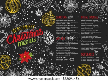 Christmas restaurant brochure, menu template. Vector holiday background and design banner. Happy New Year party flyer with hand-drawn xmas graphic.