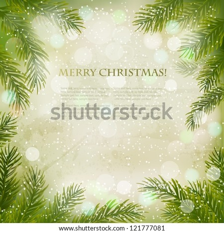 Christmas retro background with christmas tree branches and snowflakes.  Vector.