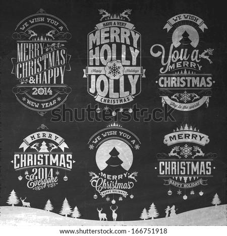 christmas retro icons  elements