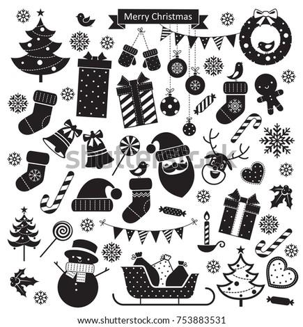 christmas retro icons set