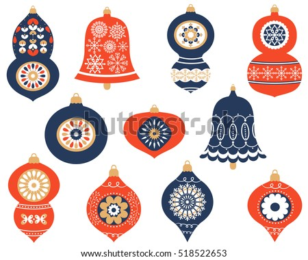 Christmas retro ornaments for greeting cards and invitation designs