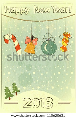 Christmas retro postcard with toys in vintage style with place for text - vector illustration
