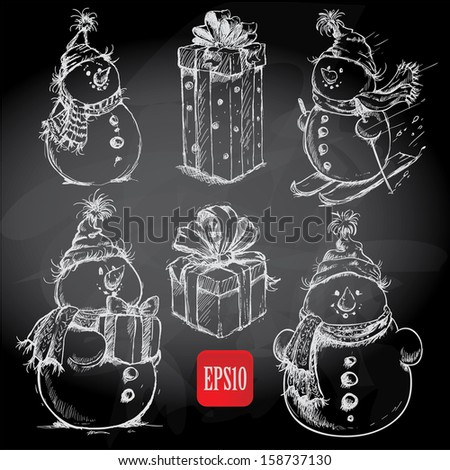 Christmas retro sketch doodles on chalkboard background