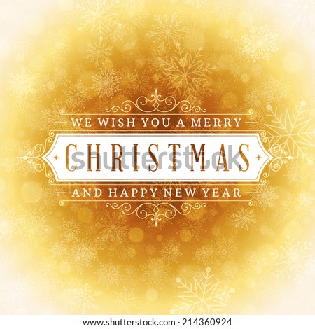 Christmas retro typographic and light with snowflakes. Merry Christmas holidays wish greeting card and vintage ornament decoration. Happy new year message. Vector background Eps 10.