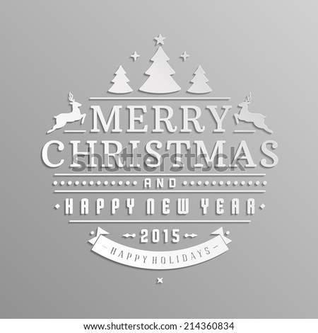 Christmas retro typographic and ornament decoration. Merry Christmas holidays wish greeting card and vintage background. Happy new year message. Vector illustration Eps 10.