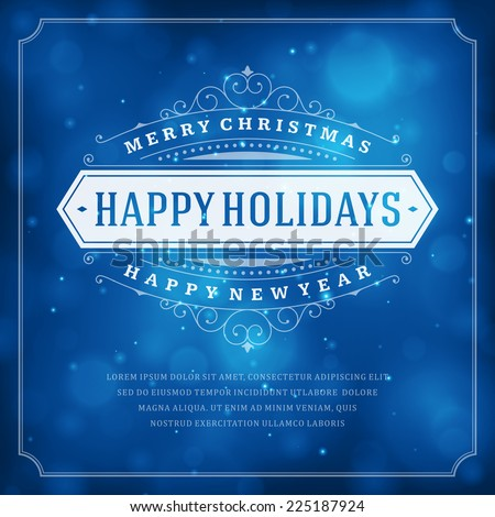 Christmas retro typography and light background. Merry Christmas holidays wish greeting card design and vintage ornament decoration. Happy new year message. Vector illustration.