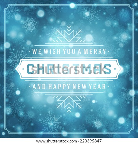 Christmas retro typography and light with snowflakes. Merry Christmas holidays wish greeting card design and vintage ornament decoration. Happy new year message. Vector background Eps 10.