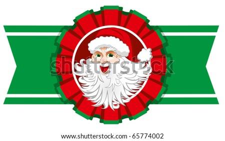 Christmas ribbon with santa claus.