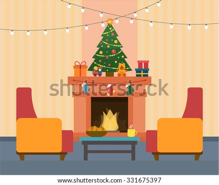 Christmas room interior. Christmas tree and decoration. Gifts and fireplace. Flat style vector illustration.