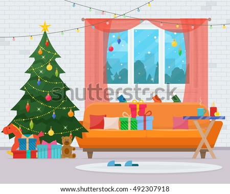 Christmas room interior. Christmas tree, sofa, gifts and decoration. Cozy home holiday. Flat style vector illustration.