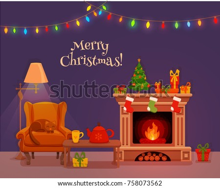 christmas room interior in