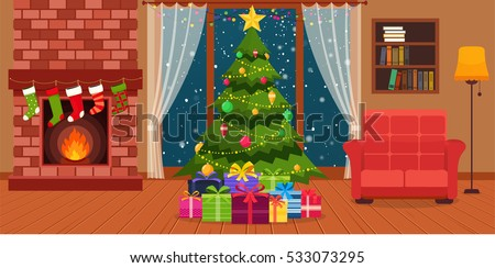 christmas room interior with