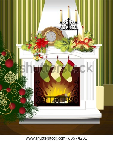 Christmas room with fireplace and Christmas tree. All elements and textures are individual objects. Vector illustration scale to any size.
